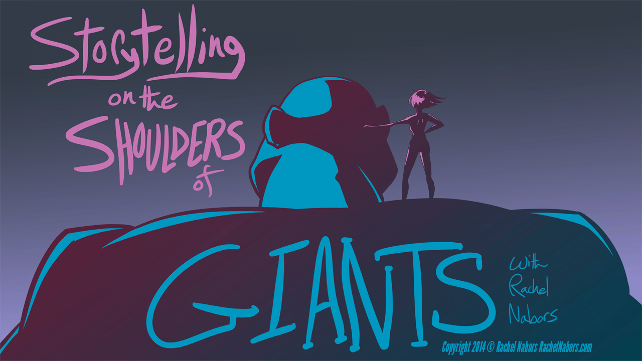 Storytelling on the Shoulders of Giants: A young woman stands on the shoulder of a massive giant.