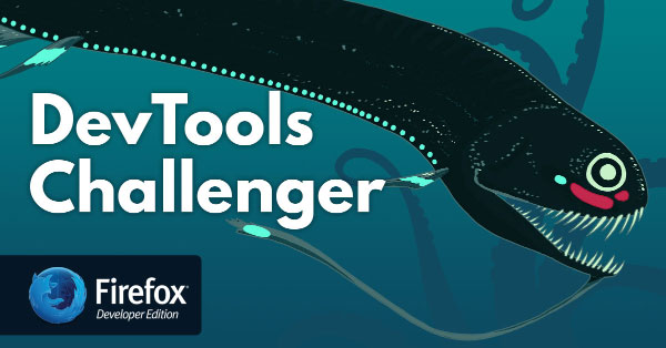 a black dragonfish poses with the DevTools Challenger logo