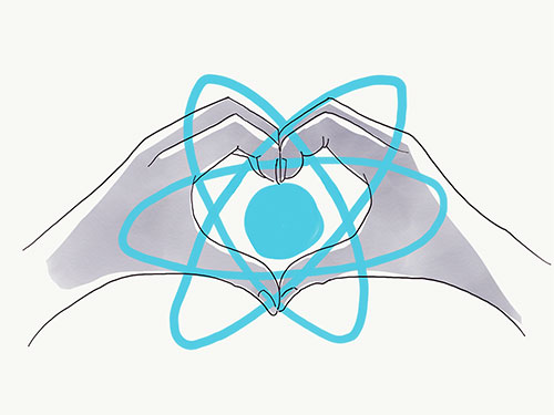 Two hands making the shape of a heart around the React logo.