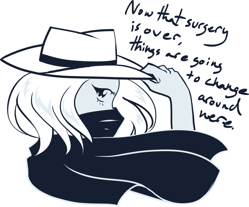 An illustration of Rachel in a hat with her scarf covering her face saying now that she's had surgery, things are going to change.